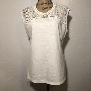 Eddie Bauer lace top blouse, size large